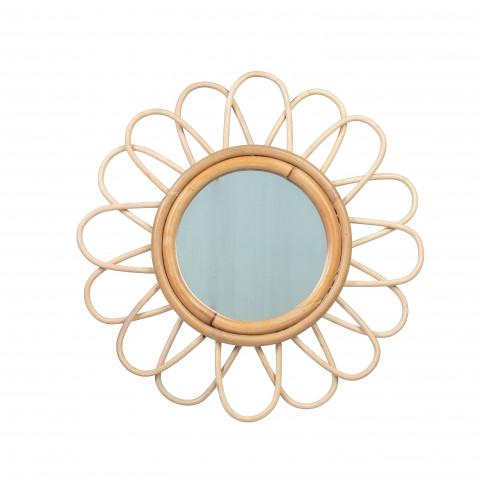 Miroir rotin - petit miroir rotin - miroir rotin fleur - miroir rotin soleil - petit miroir rotin fleur