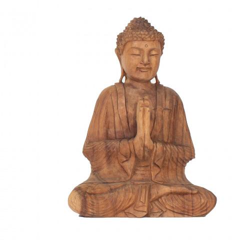 Statue  bouddha déco - bouddha en bois - bouddha en bois de suar-Sculpture Bouddha assis en bois- objet déco bois