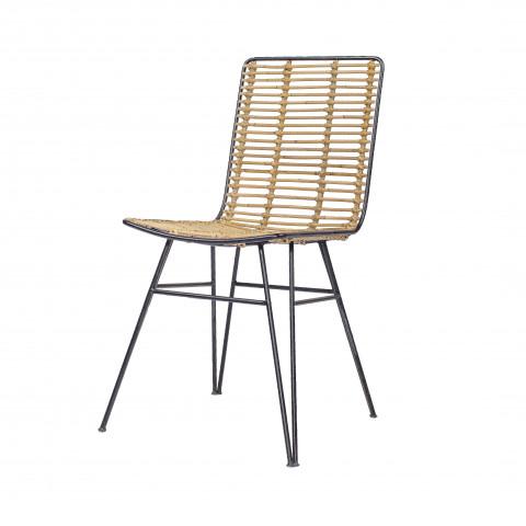 Chaise rotin et métal - Chaise de salon en rotin et métal - chaise design industriel