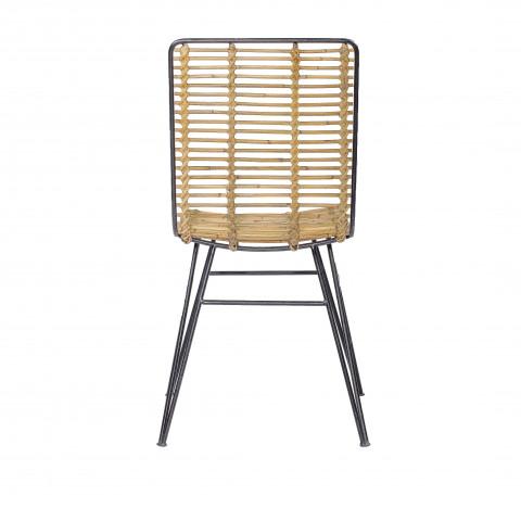 Chaise rotin et métal - Chaise de salon en rotin et métal - chaise design industriel - chaise rotin - chaise pour salon -HYDILE