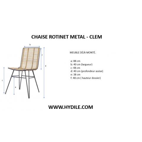 chaise rotin et métal - chaise rotin et métal clem - hydile