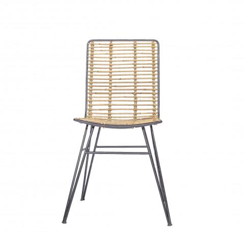 Chaise rotin et métal - chaise de salon - chaise design - chaise rotin - chaise rotin naturel - chaise HYDILE