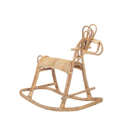 Jimy Cheval à bascule en rotin - Objet déco en rotin vintage - mobilier enfant rotin vintage