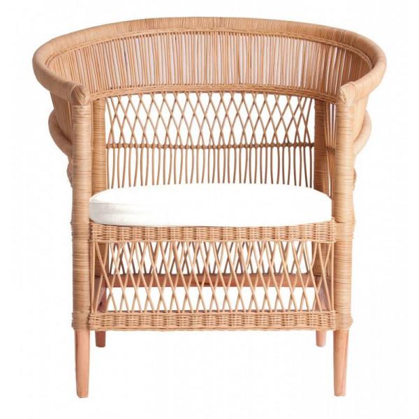 Fauteuil en rotin - Assise en rotin - Chaise rotin et bois - ILIOS - Fauteuil rotin tressé -  HYDILE