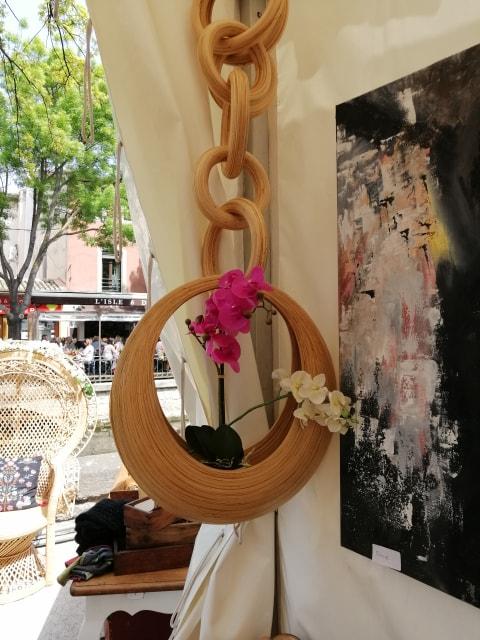 Pot de fleur en bambou suspendu
